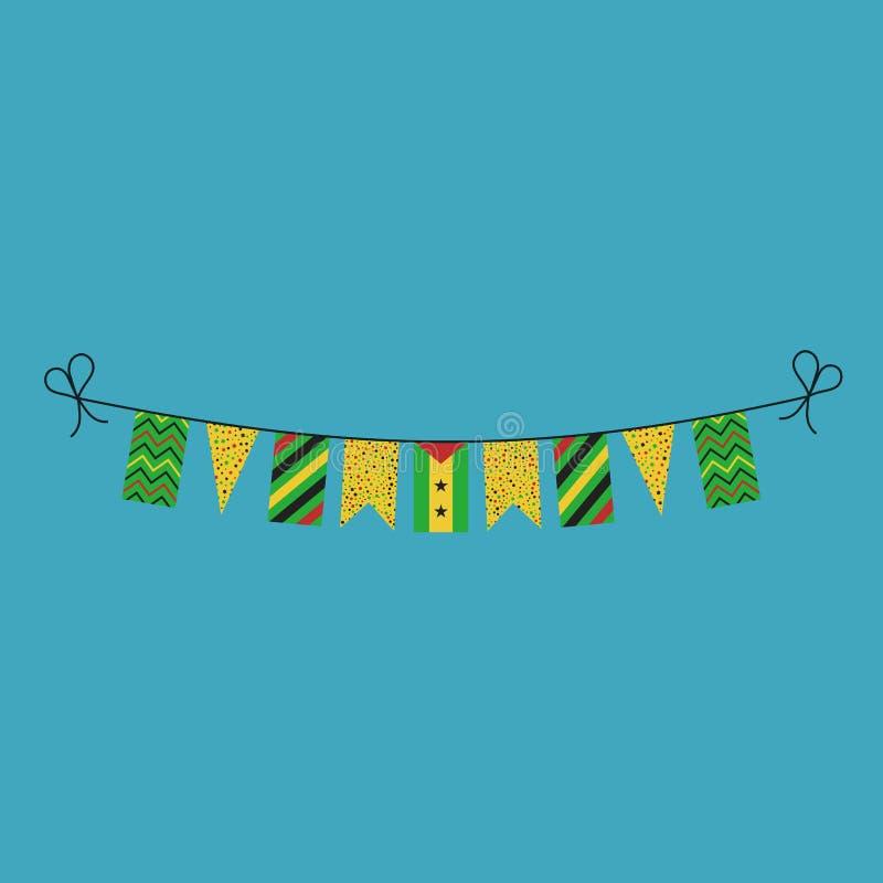 Garneringar som bunting flaggor för ferie São Tomé och Príncipe för nationell dag i plan design royaltyfri illustrationer
