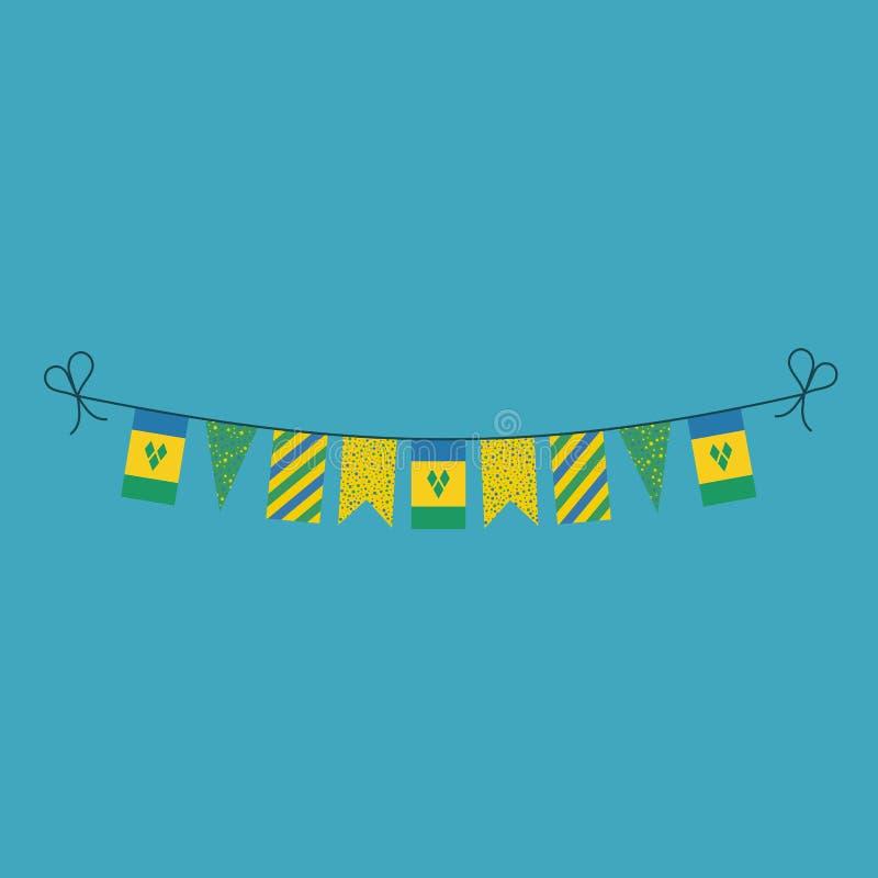 Garneringar som bunting flaggor för ferie Saint Vincent och Grenadinerna för nationell dag i plan design royaltyfri illustrationer