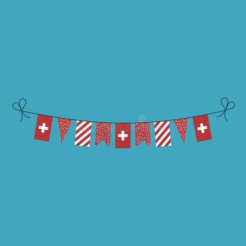 Garneringar som bunting flaggor för ferie Schweiz för nationell dag i plan design vektor illustrationer