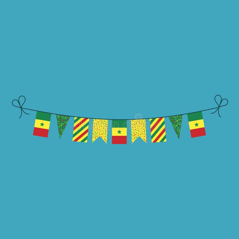 Garneringar som bunting flaggor för ferie Senegal för nationell dag i plan design vektor illustrationer