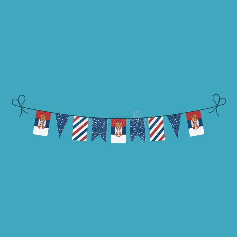 Garneringar som bunting flaggor för ferie Serbien för nationell dag i plan design royaltyfri illustrationer