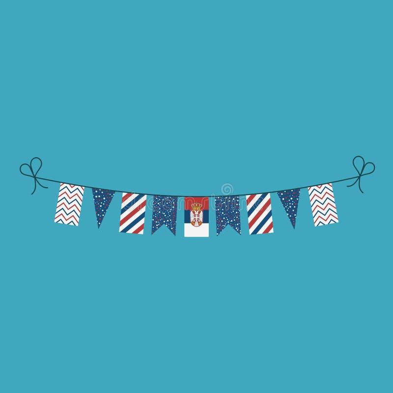 Garneringar som bunting flaggor för ferie Serbien för nationell dag i plan design stock illustrationer
