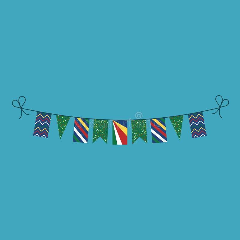 Garneringar som bunting flaggor för ferie Seychellerna för nationell dag i plan design royaltyfri illustrationer