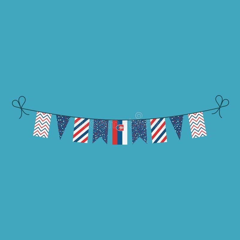 Garneringar som bunting flaggor för ferie Slovakien för nationell dag i plan design vektor illustrationer