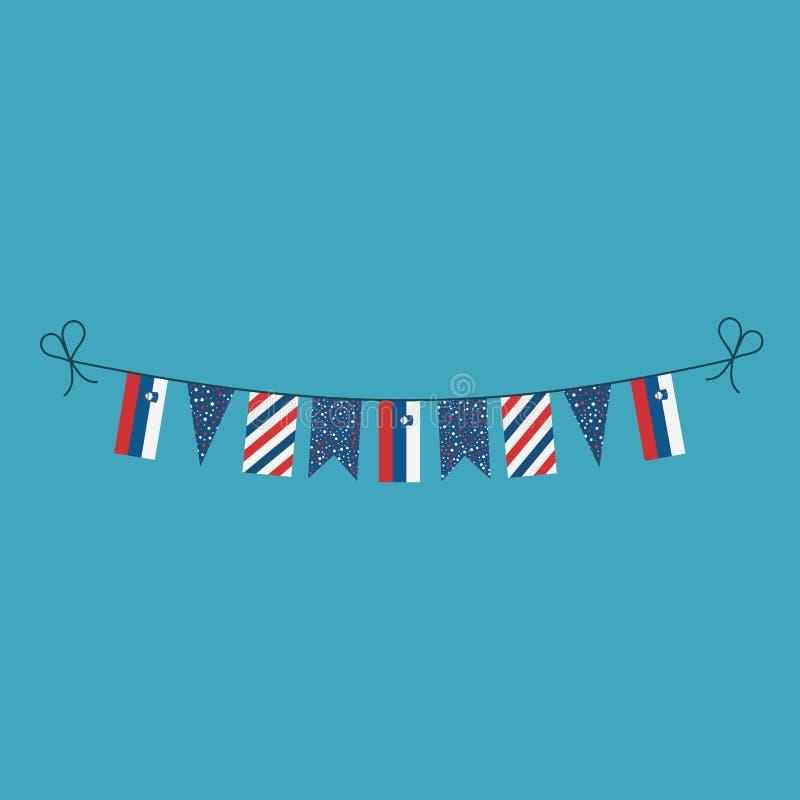 Garneringar som bunting flaggor för ferie Slovenien för nationell dag i plan design vektor illustrationer