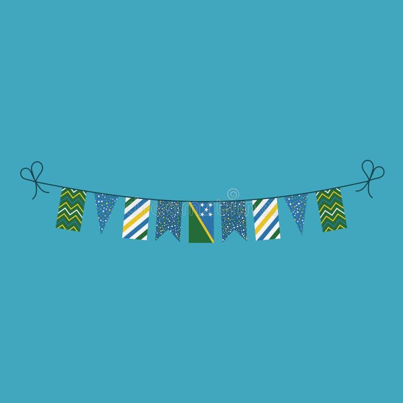 Garneringar som bunting flaggor för ferie Solomon Islands för nationell dag i plan design stock illustrationer