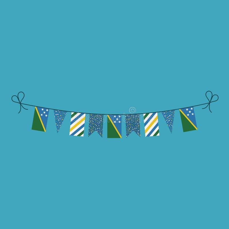 Garneringar som bunting flaggor för ferie Solomon Islands för nationell dag i plan design royaltyfri illustrationer