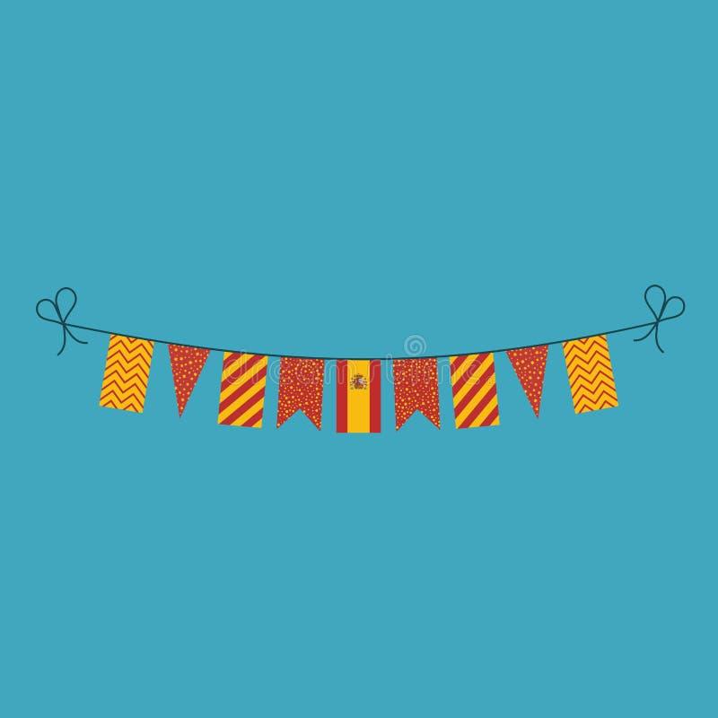 Garneringar som bunting flaggor för ferie Spanien för nationell dag i plan design vektor illustrationer