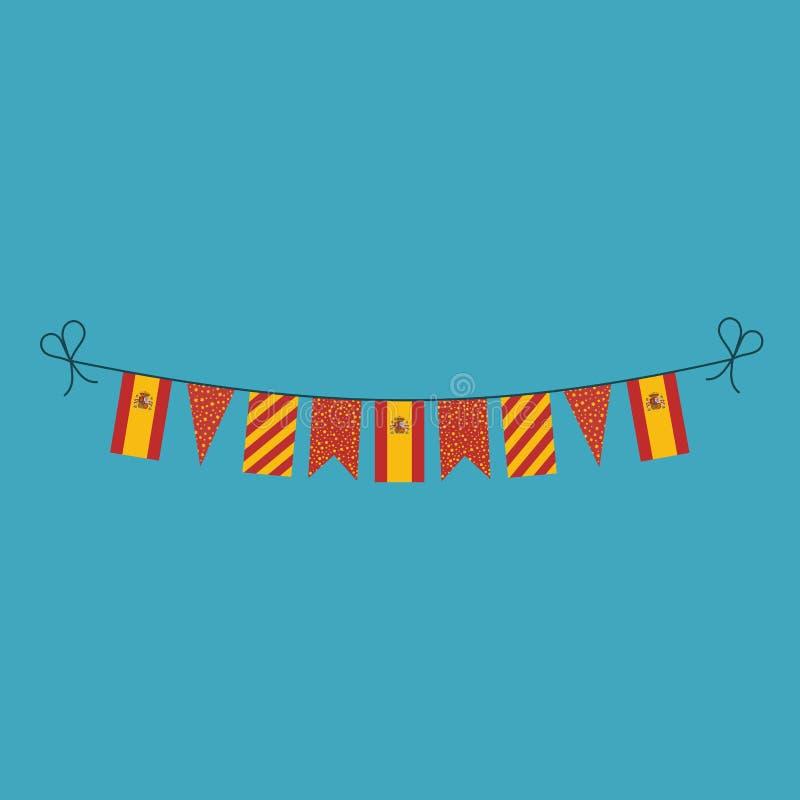 Garneringar som bunting flaggor för ferie Spanien för nationell dag i plan design stock illustrationer