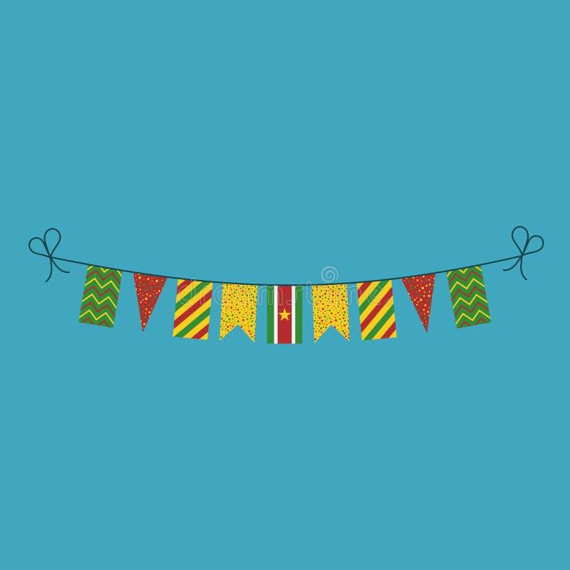 Garneringar som bunting flaggor för ferie Surinam för nationell dag i plan design stock illustrationer