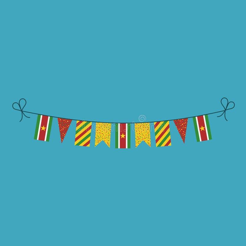 Garneringar som bunting flaggor för ferie Surinam för nationell dag i plan design royaltyfri illustrationer