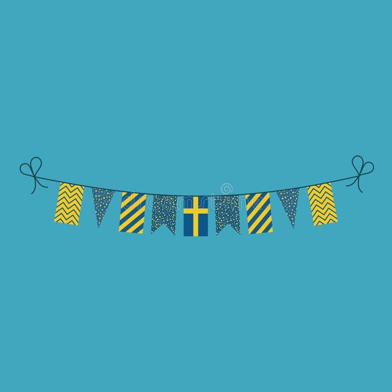 Garneringar som bunting flaggor för ferie Sverige för nationell dag i plan design royaltyfri illustrationer