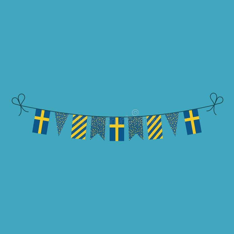 Garneringar som bunting flaggor för ferie Sverige för nationell dag i plan design vektor illustrationer