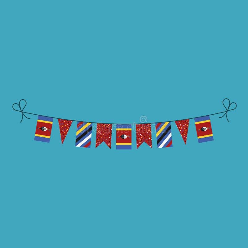 Garneringar som bunting flaggor för ferie Swaziland för nationell dag i plan design royaltyfri illustrationer