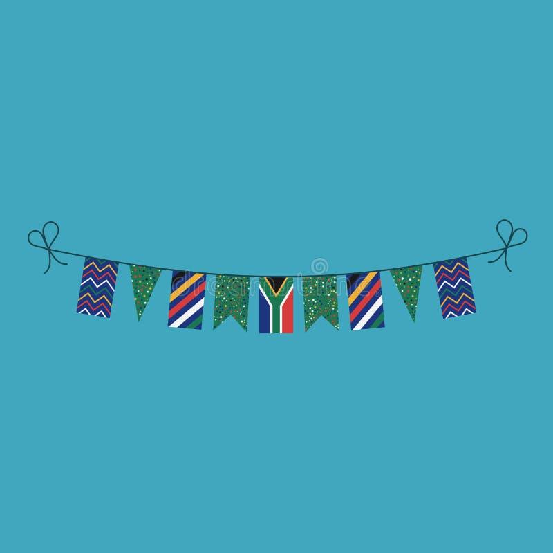 Garneringar som bunting flaggor för ferie Sydafrika för nationell dag i plan design stock illustrationer