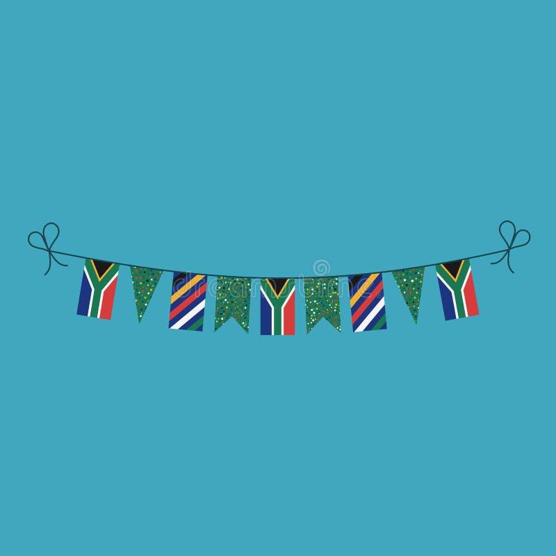 Garneringar som bunting flaggor för ferie Sydafrika för nationell dag i plan design vektor illustrationer