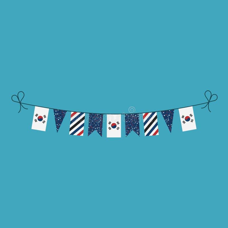 Garneringar som bunting flaggor för ferie Sydkorea för nationell dag i plan design royaltyfri illustrationer