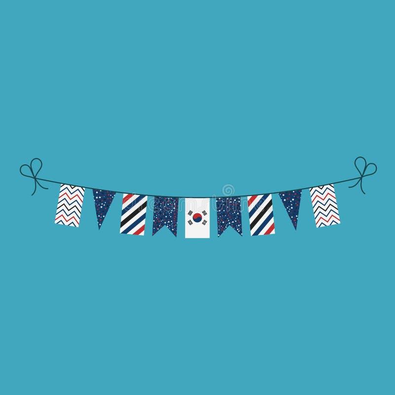 Garneringar som bunting flaggor för ferie Sydkorea för nationell dag i plan design stock illustrationer