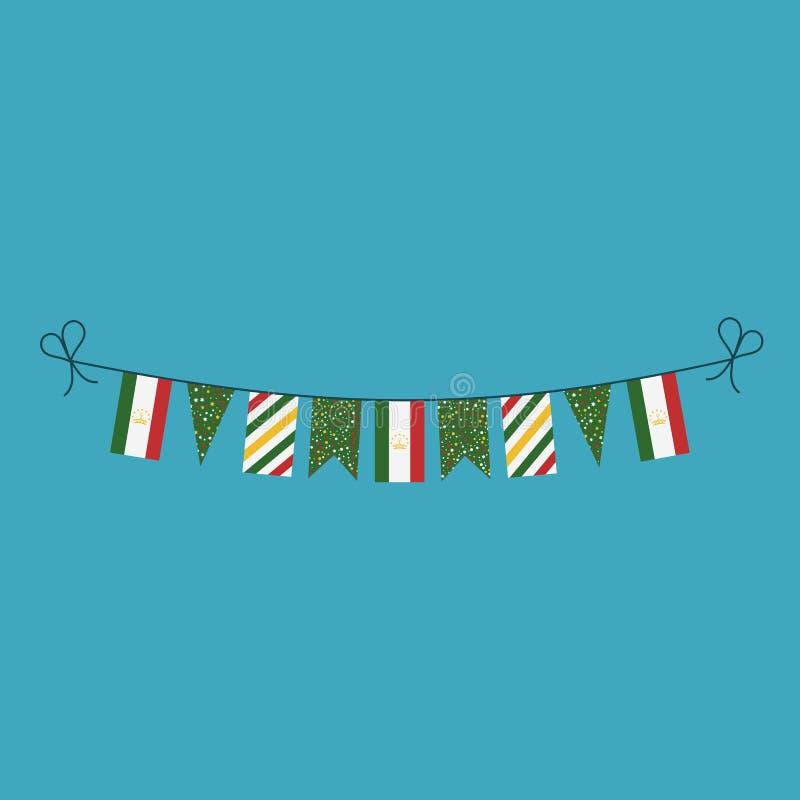 Garneringar som bunting flaggor för ferie Tadzjikistan för nationell dag i plan design stock illustrationer