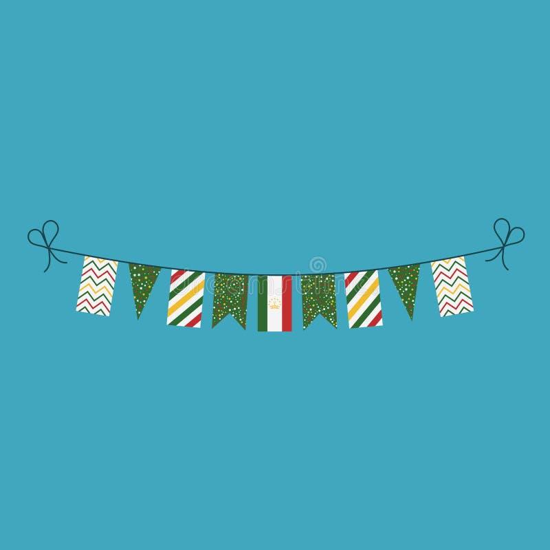 Garneringar som bunting flaggor för ferie Tadzjikistan för nationell dag i plan design vektor illustrationer