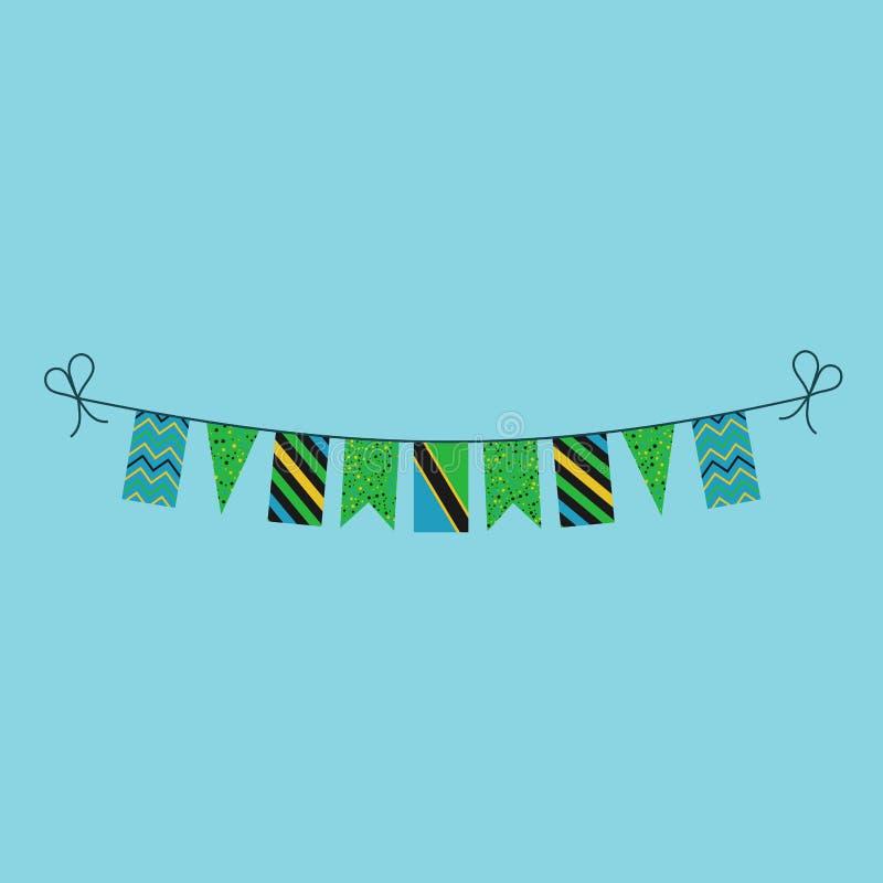 Garneringar som bunting flaggor för ferie Tanzania för nationell dag i plan design royaltyfri illustrationer