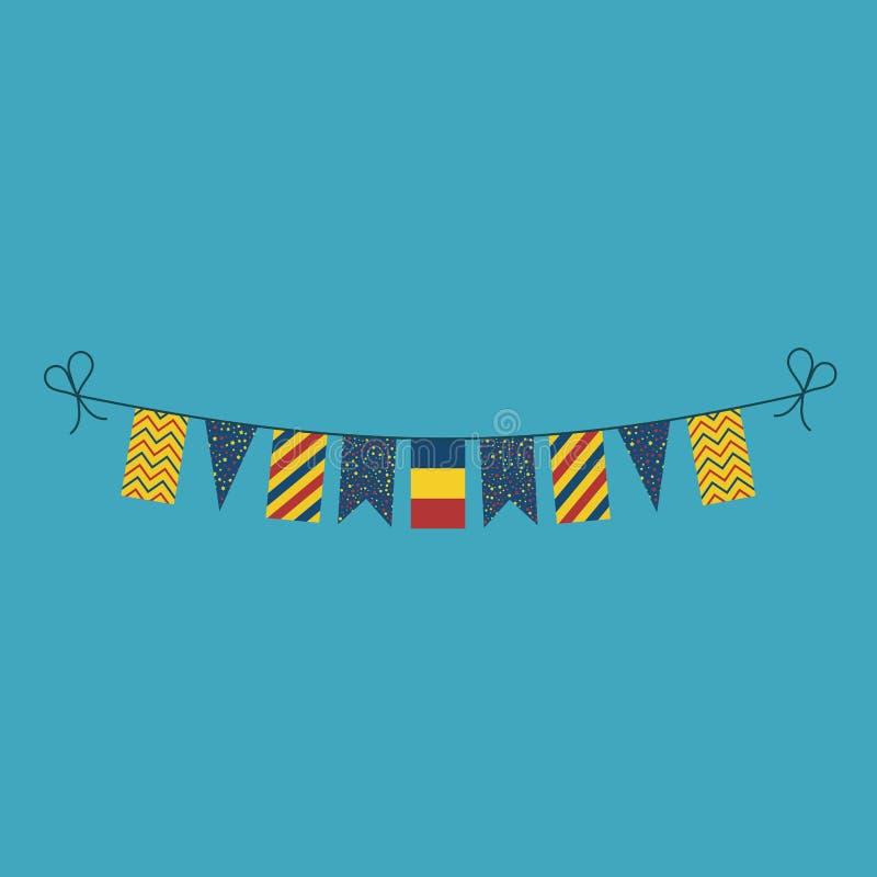 Garneringar som bunting flaggor för ferie Tchad för nationell dag i plan design royaltyfri illustrationer