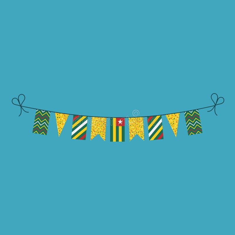 Garneringar som bunting flaggor för ferie Togo för nationell dag i plan design royaltyfri illustrationer
