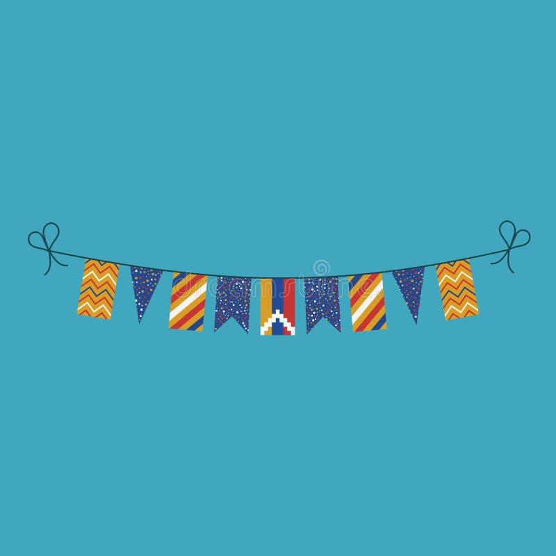 Garneringar som bunting flaggor för republiken av ferie Artsakh för nationell dag i plan design royaltyfri illustrationer
