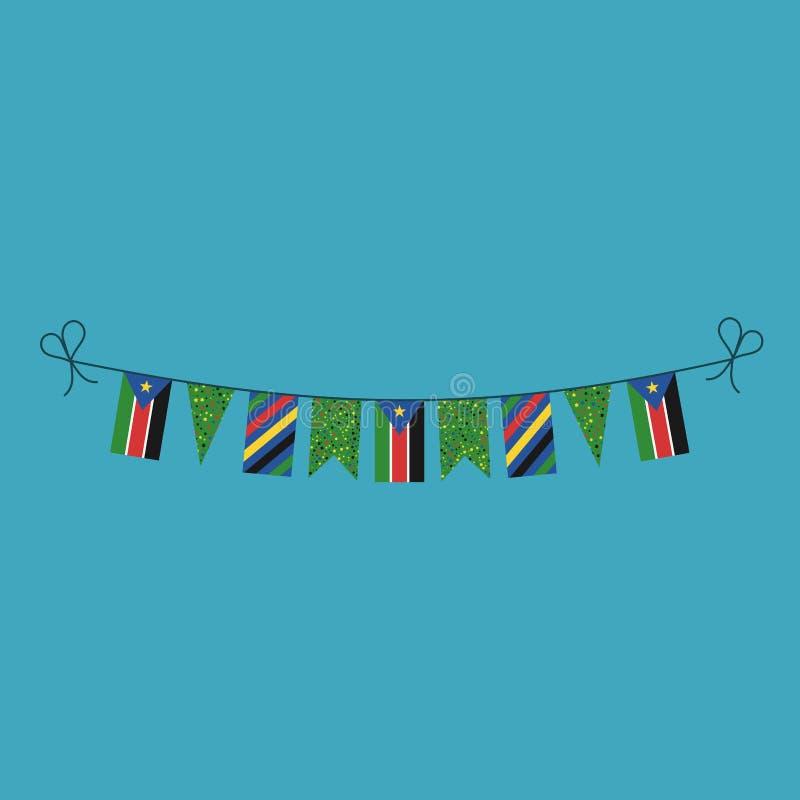 Garneringar som bunting flaggor för södra ferie Sudan för nationell dag i plan design stock illustrationer