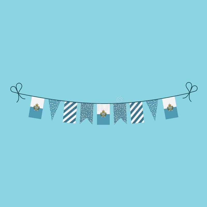 Garneringar som bunting flaggor för sanmarinsk ferie för nationell dag i plan design vektor illustrationer