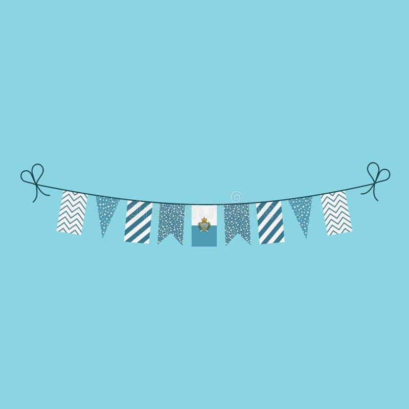 Garneringar som bunting flaggor för sanmarinsk ferie för nationell dag i plan design stock illustrationer