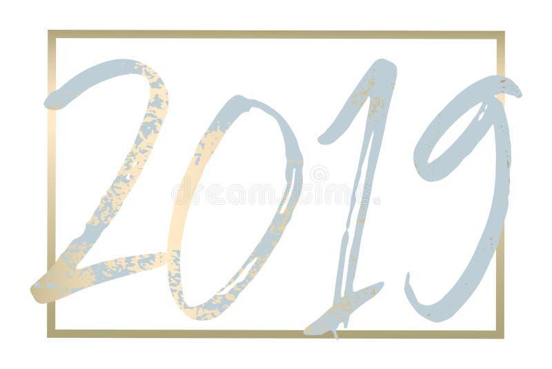Garneringdesign för nytt år 2019 royaltyfri illustrationer