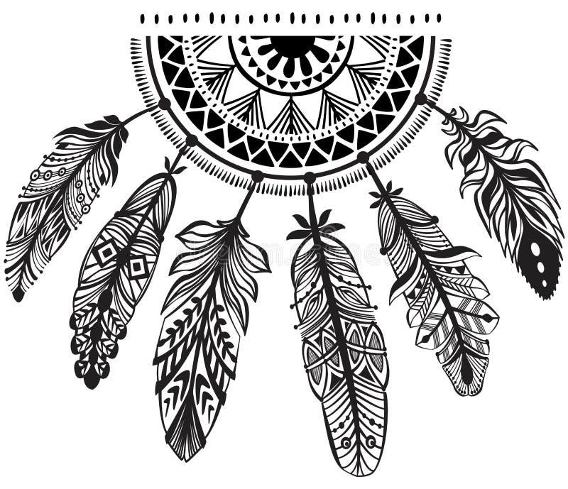 Garneringdreamcatcher i stamstil vektor illustrationer