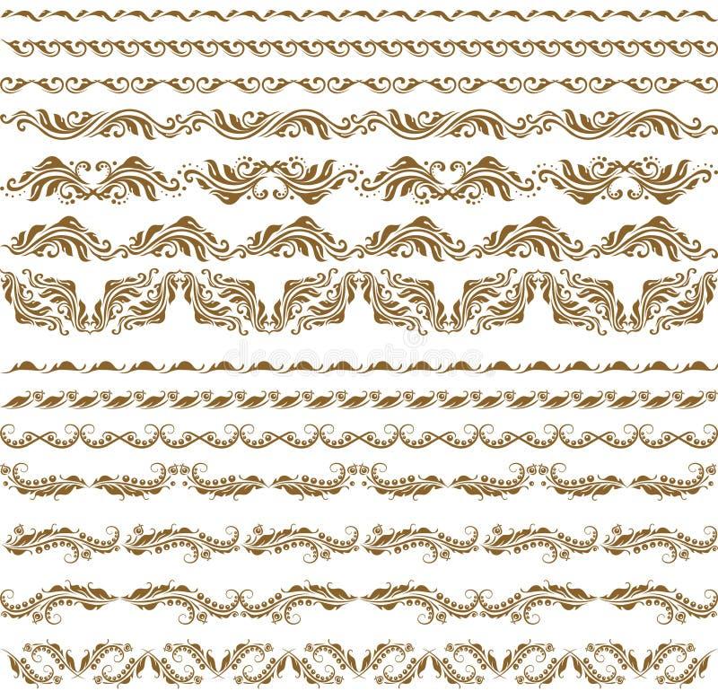 garneringelementhorisontalvektor vektor illustrationer