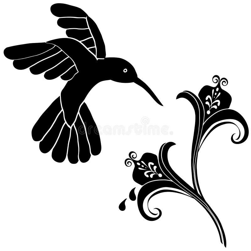 garneringen blommar hummingbirden vektor illustrationer