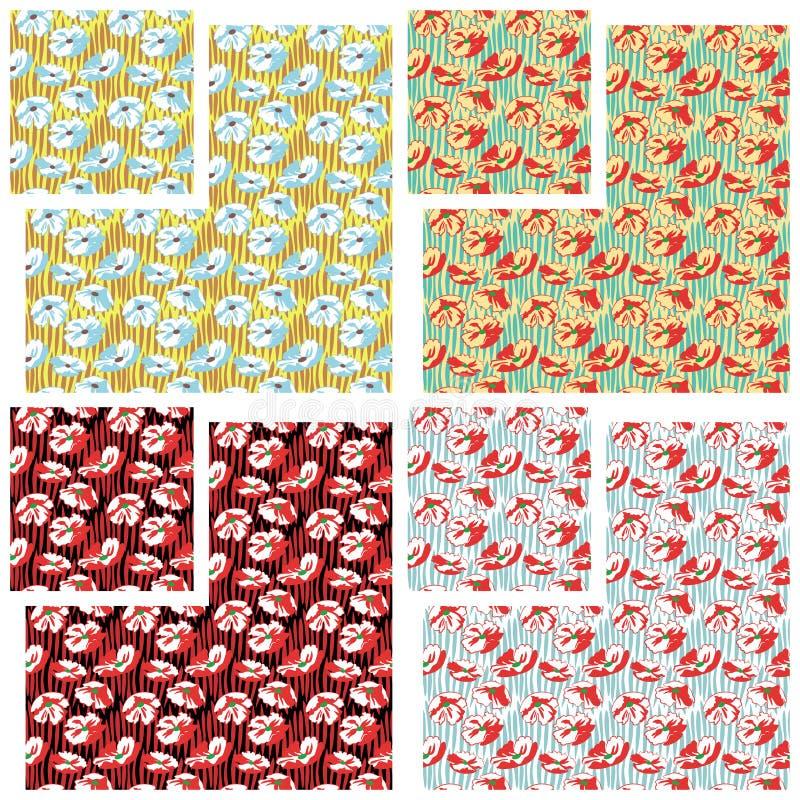 garneringen blommar red stock illustrationer