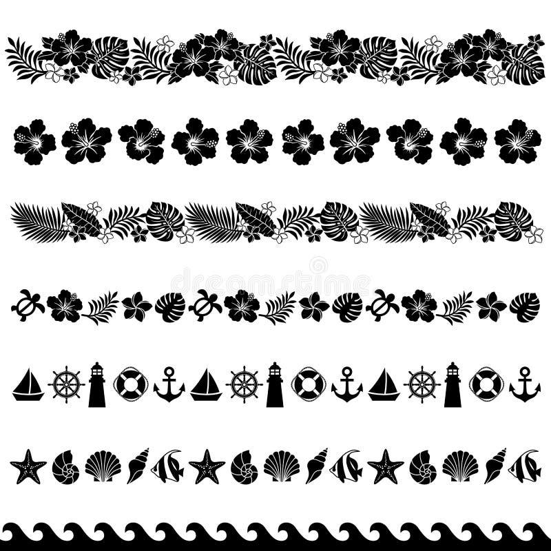 garneringlinje sommar royaltyfri illustrationer