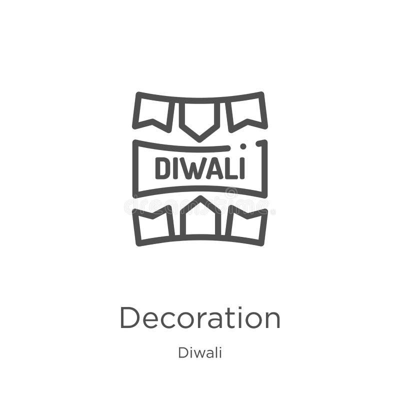 garneringsymbolsvektor från diwalisamling Tunn linje illustration för vektor för garneringöversiktssymbol ?versikt tunn linje royaltyfri illustrationer