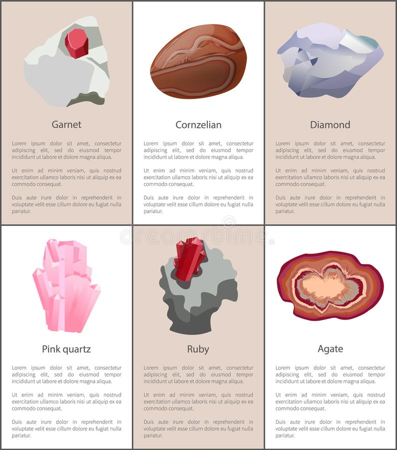 Garnet Carnelian Diamond Pink Quartz Ruby Agate. Precious gemstones set posters. Crystals and minerals, expensive natural gems vector banners with text vector illustration