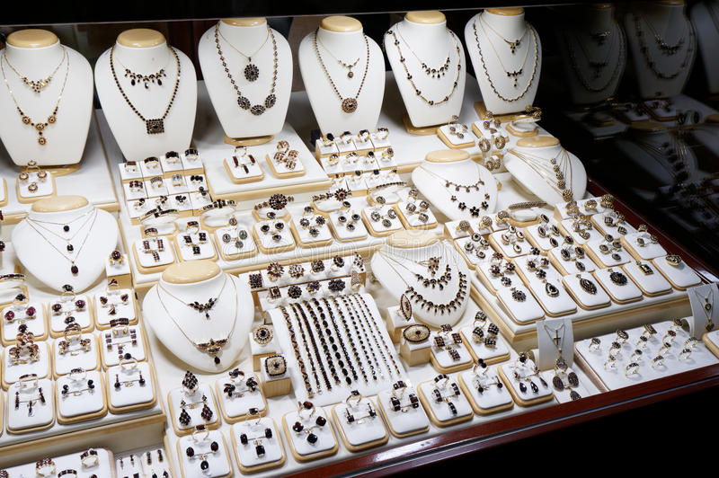 Garnet jewelry shop. Window display of a garnet jewelry shop royalty free stock photos