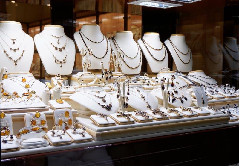 Garnet jewelry shop. Window display royalty free stock images