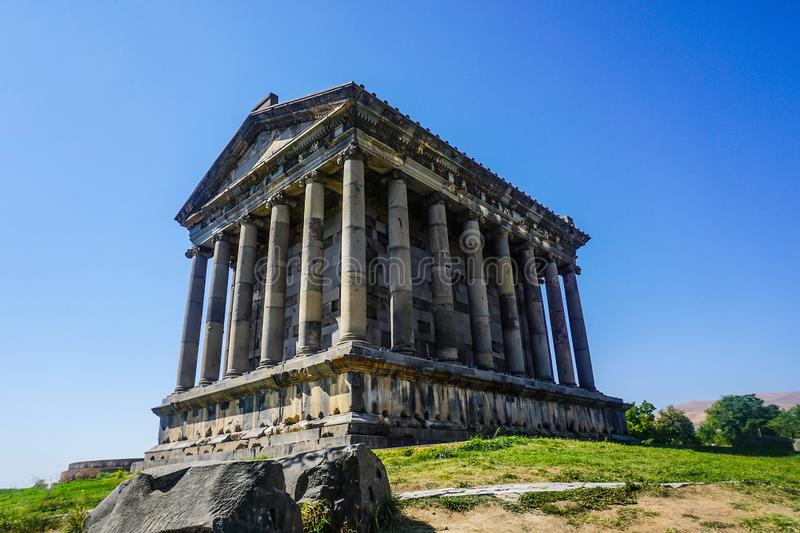 Garni Temple Back View Point. With Blue Sky in Summer stock photos