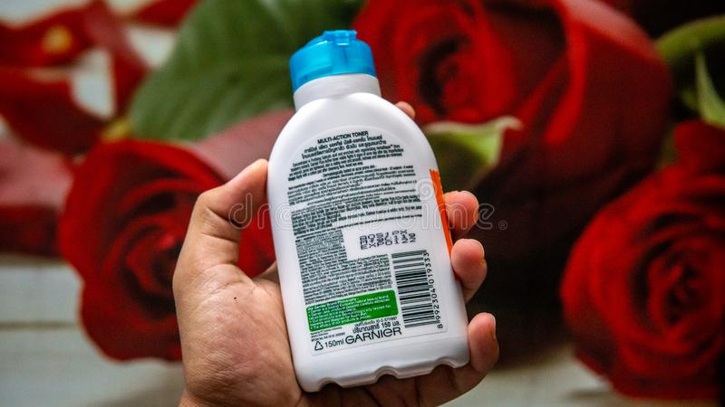 Garnier brand pure active multifunction toner. Anti imperfection. Skincare product to fight acne. Bangi, Malaysia - July 27, 2019: Garnier brand pure active stock image