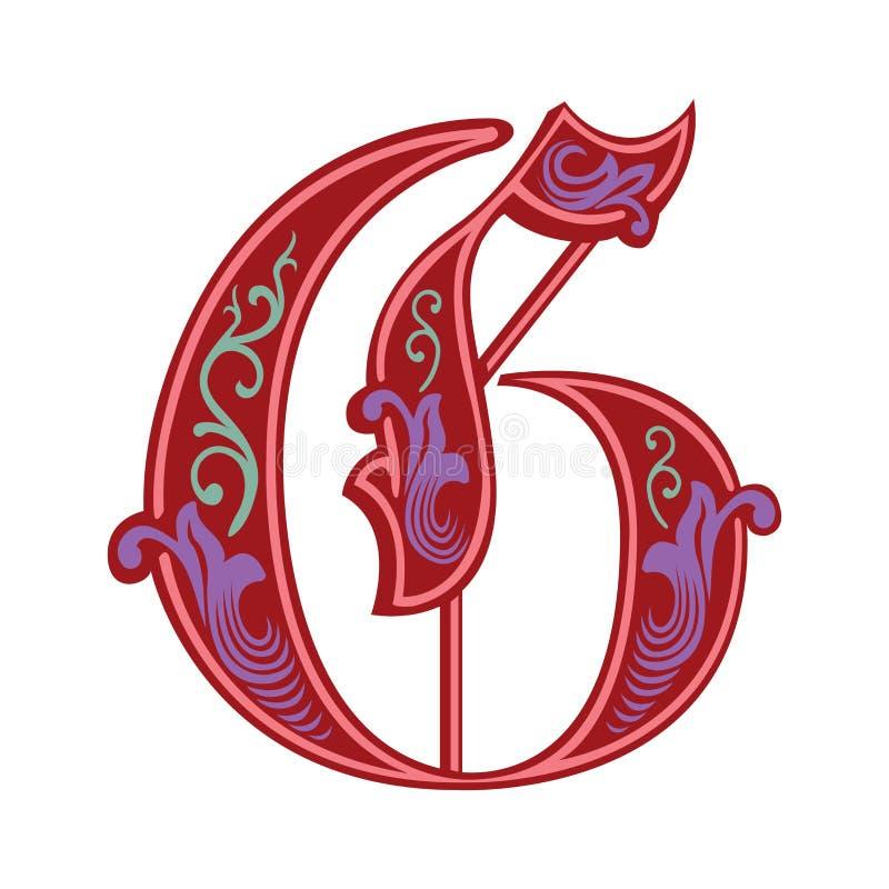 Garnished Gothic style font, letter G. Garnished English alphabets, Gothic style font, letter G, in colors stock illustration