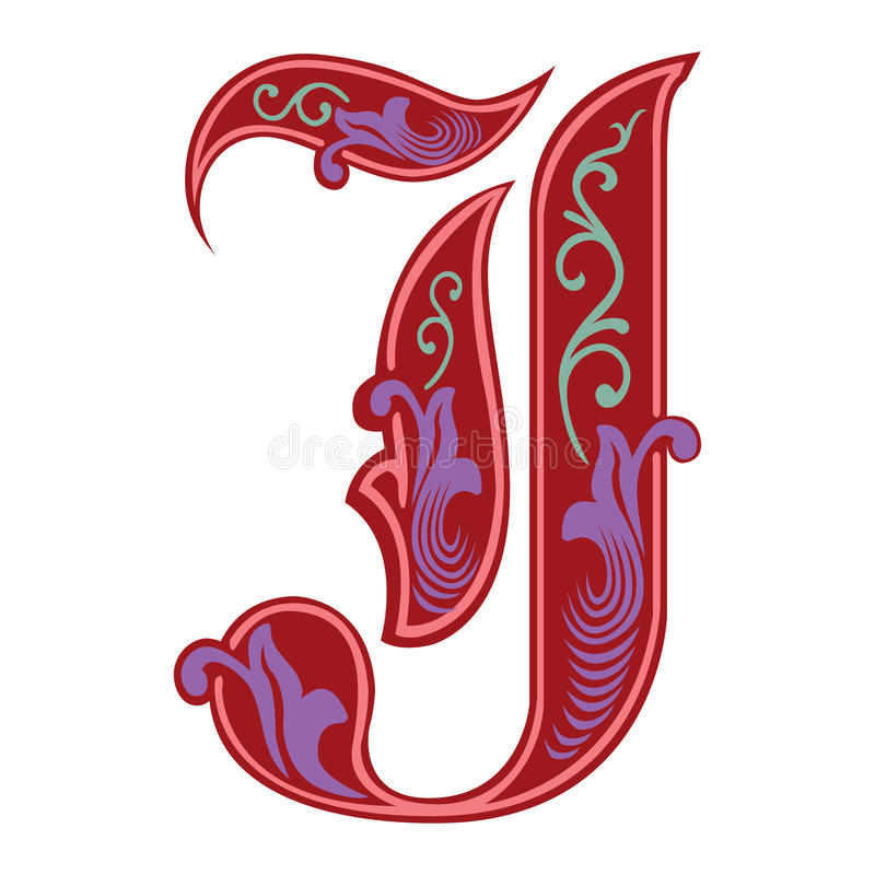 Garnished Gothic style font, letter J. Garnished English alphabets, Gothic style font, letter J, in colors vector illustration