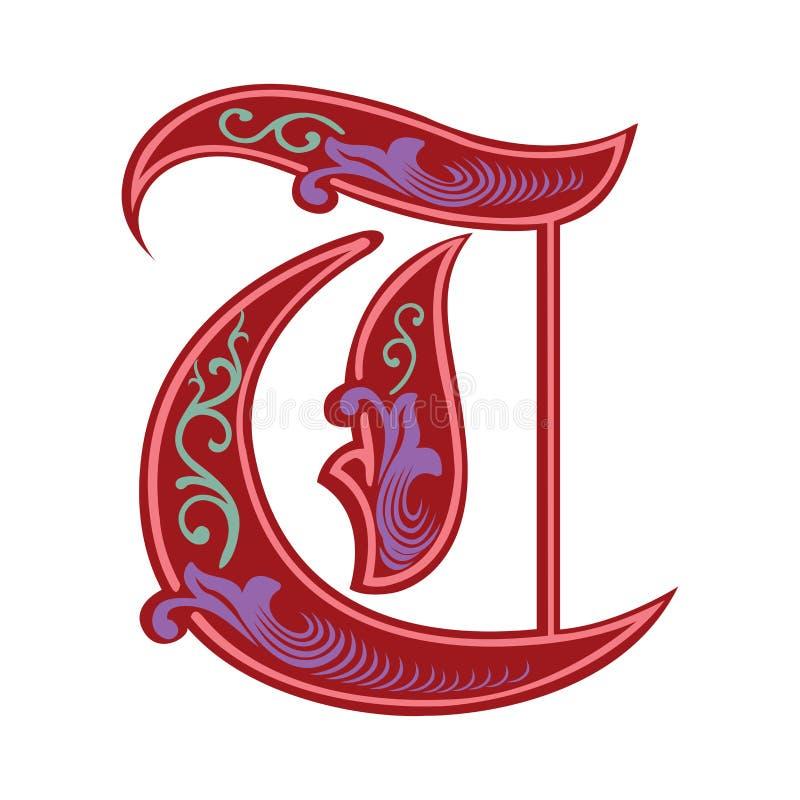 Garnished Gothic style font, letter T. Garnished English alphabets, Gothic style font, letter T, in colors stock illustration