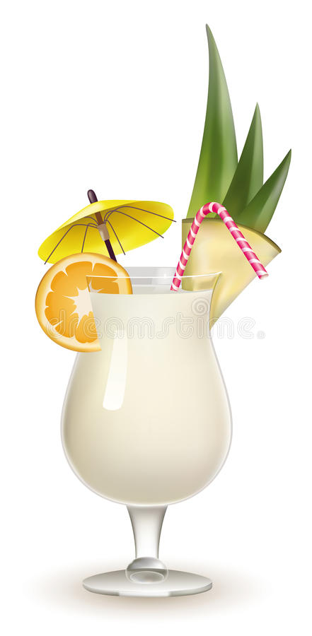Free Garnished Pina Colada Cocktail Isolated On White Royalty Free Stock Image - 18476386