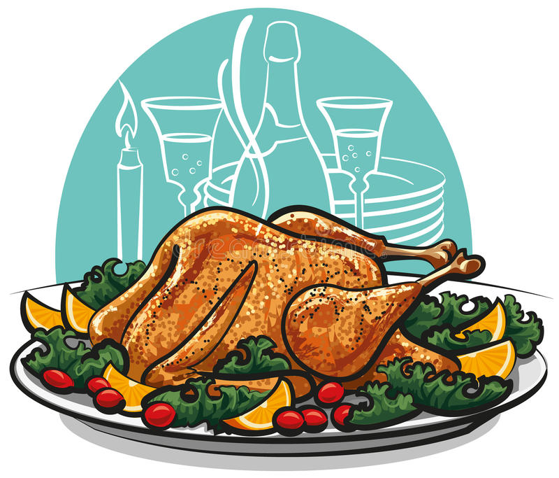 Garnished roasted turkey. With oranges and tomatoes vector illustration