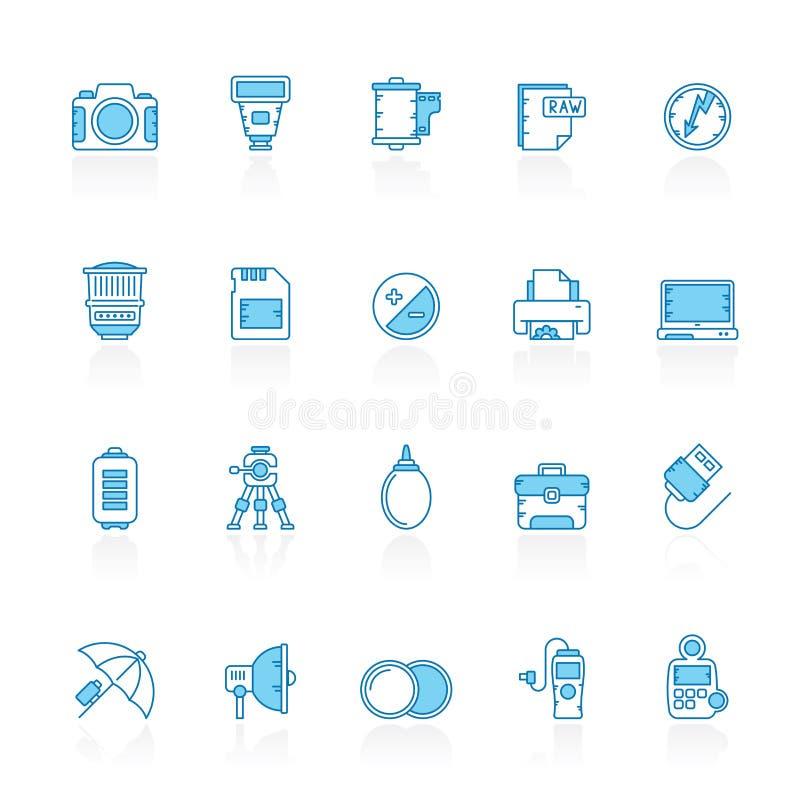 Garnissez des icônes bleues d'équipement et de photographie d'appareil-photo de fond illustration de vecteur
