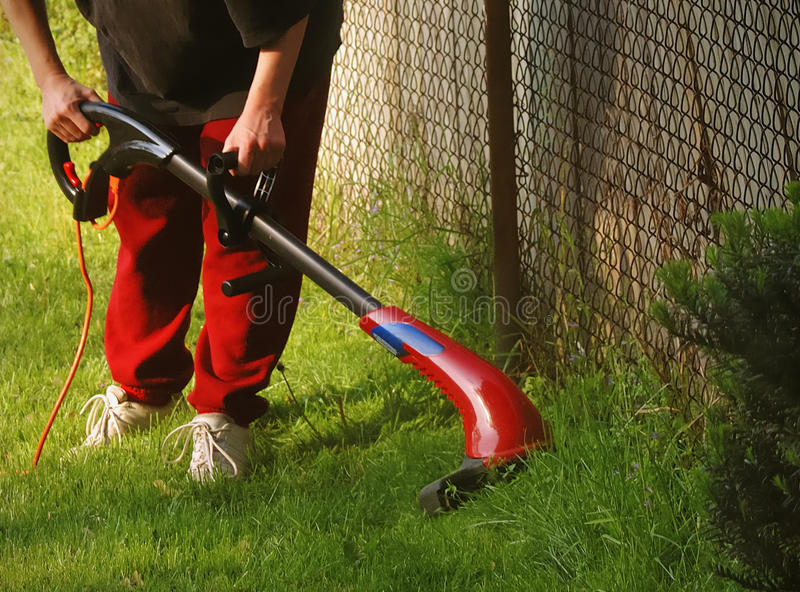 garniture d'homme de pelouse d'herbe images libres de droits